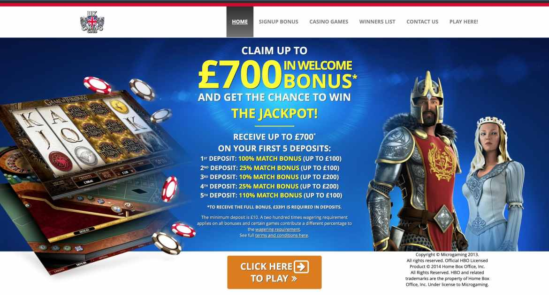 UK Casino Club : get 270% match bonus up to £700 on 5 deposits