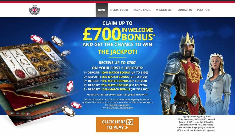 Uk Casino Club : Get $£700 Free Deposit Match Bonus