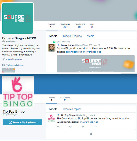 A Tale of Two Twitters: Square Bingo vs Tip Top Bingo (Pre-launch)