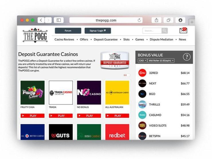 deposit guarantee casinos on thepogg website