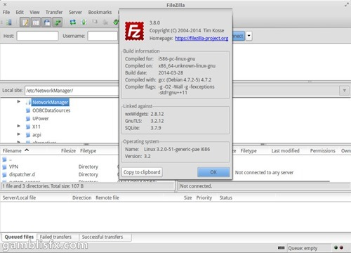 filezilla 3.8.0 elementary os luna