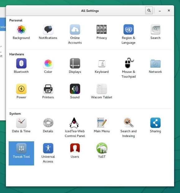 gnome tweak tool opensuse 13.2