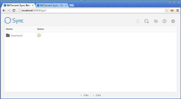 Bittorrent sync web administration