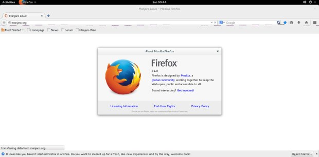 firefox on manjaro 0.8.10 gnome