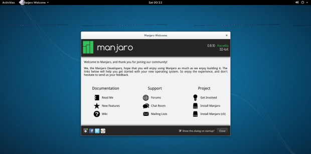 manjaro 0.8.10 gnome welcome screen