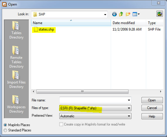 open shp on mapinfo 1