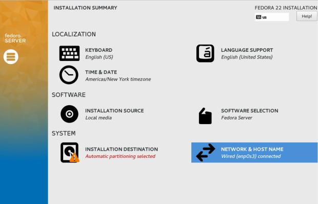 fedora 22 server install tutorial 3