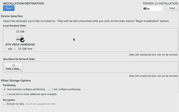 fedora 22 server install tutorial 4