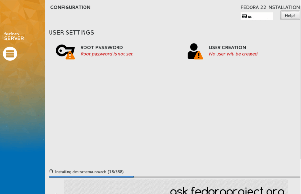 fedora 22 server install tutorial 5
