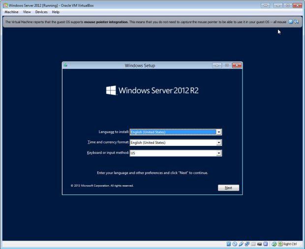 install windows server on virtualbox