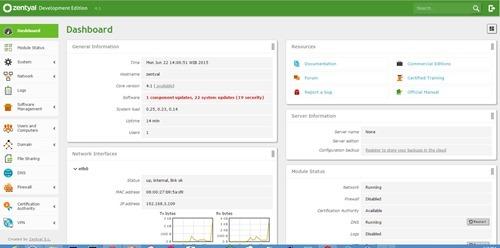 zentyal 4.1 dashboard