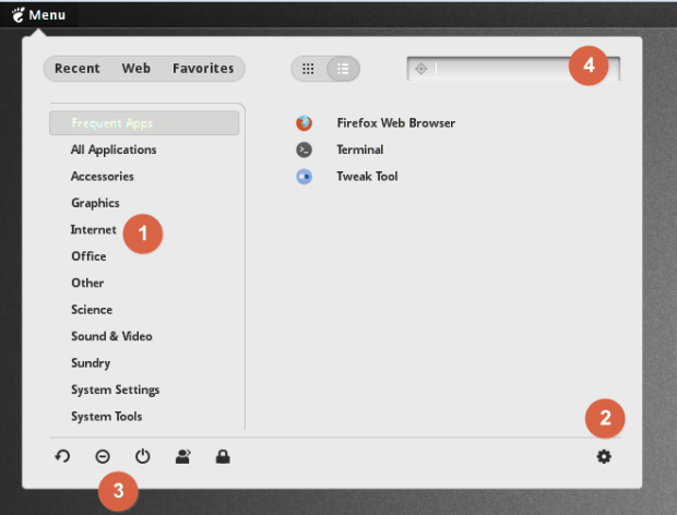 application menu on pinguyos