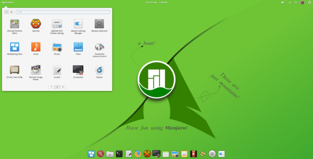 manjaro pantheon 2015.8 screenshot 2