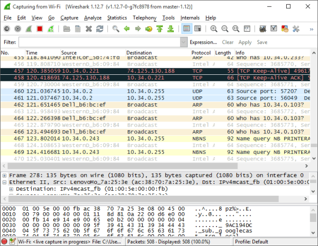 wireshark on windows 10