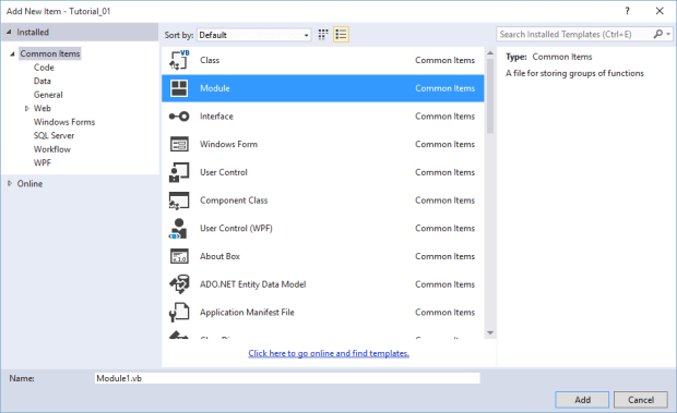 add module to vb.net 2015