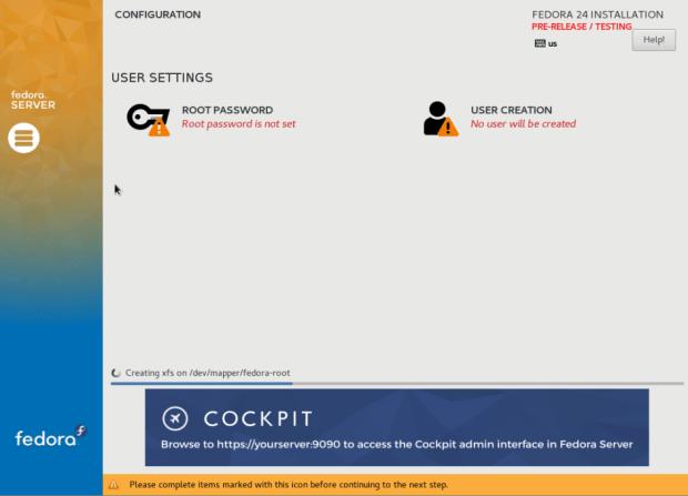 fedora 24 server install 6