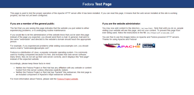 fedora test page apache