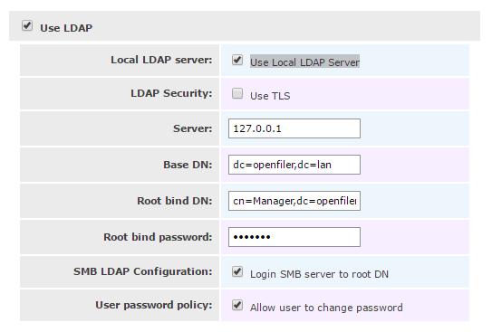 LDAP Settings openfiler