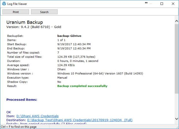 backup to Google Drive using Uranium Backup
