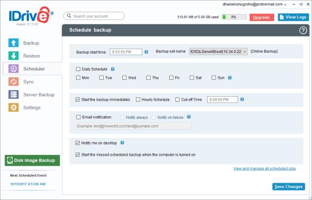 Backup SQL Server Database idrive