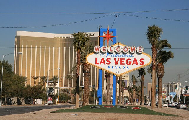 The Welcome to Fabulous Las Vegas sign is just under a mile from Mandalay Bay