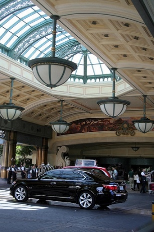The front valet parking area at the Bellagio in Las Vegas