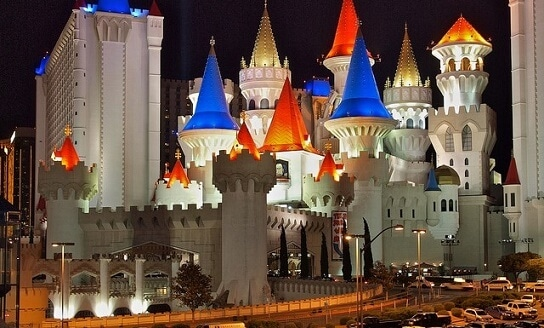 There's lots of parking available at the Excalibur Hotel & Casino