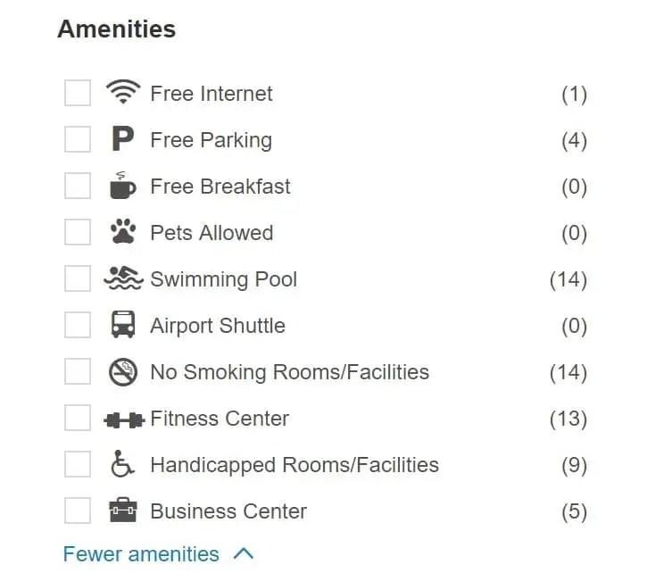Priceline Amenities list