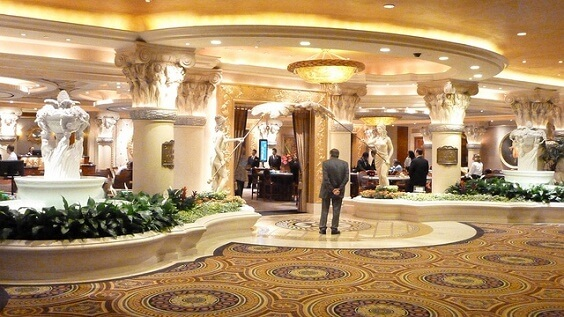 Looking towards the high limit room at Caesars Palace