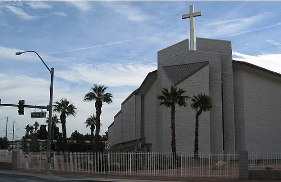 The Shrine of the Most Holy Redeemer Catholic Church is just a block away from the Las Vegas Strip
