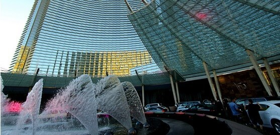 The front valet area at the Aria