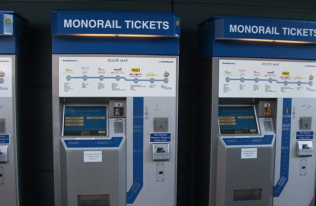 These are the kiosks where you can purchase your monorail ticket