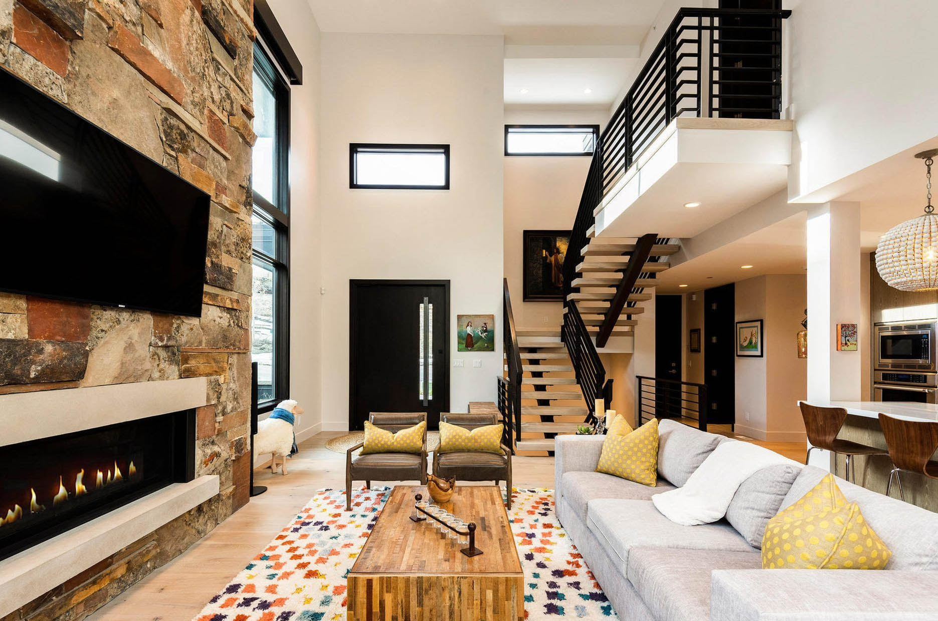 Modern Staircase Design Contemporary Stair Design Ideas | Stairs In Middle Of Room Interior Design | 3 Story Staircase | House | Middle Hallway | Private Home | Mixed Interior