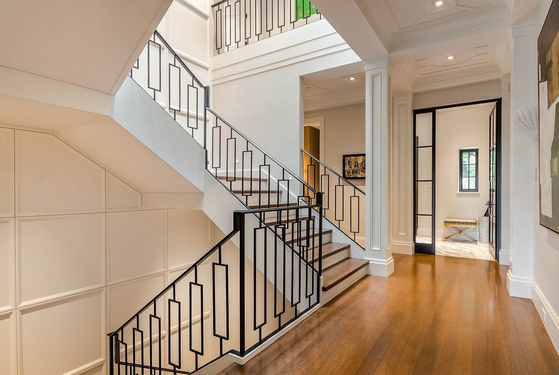 Modern Staircase Design Contemporary Stair Design Ideas | Wood Stairs With Wood Risers | Painting | Solid Oak Stair Treads Finished | Distressed | Before And After | Wooden