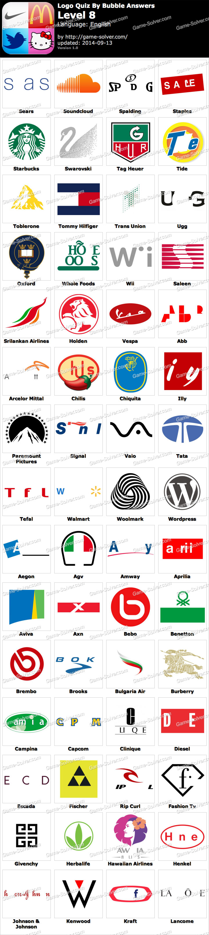 Logo Quiz By Bubble Answers Level 8