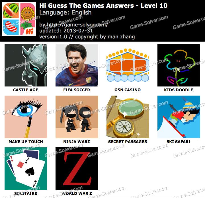 Hi Guess the Games Level 10