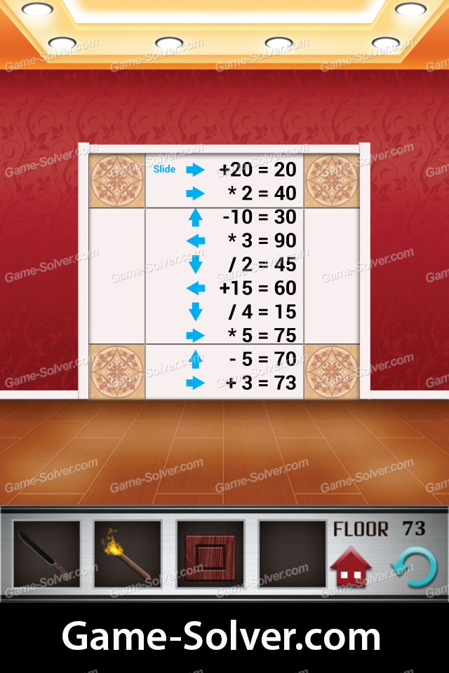 100 Floors Level 73 Game Solver