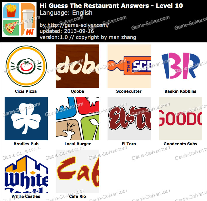 Restaurant Logo Game Cheats