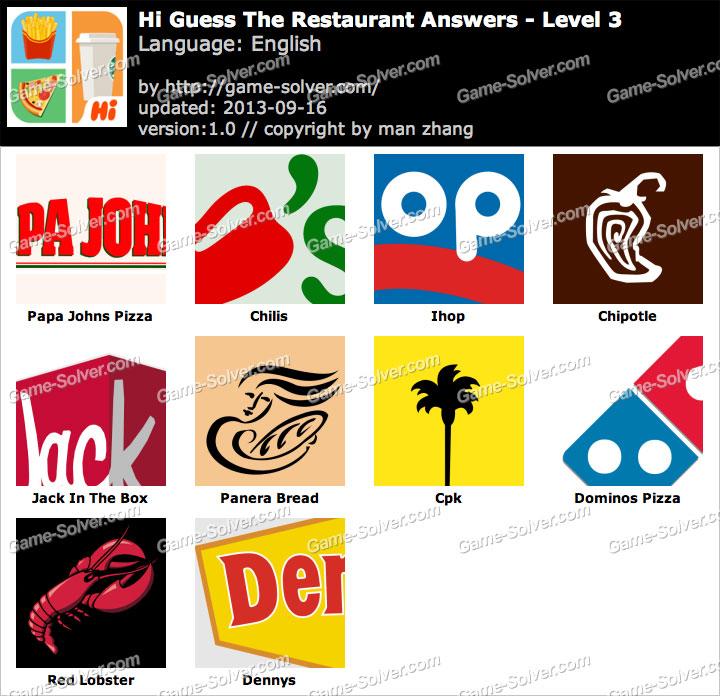 Hi Guess the Restaurant Level 3