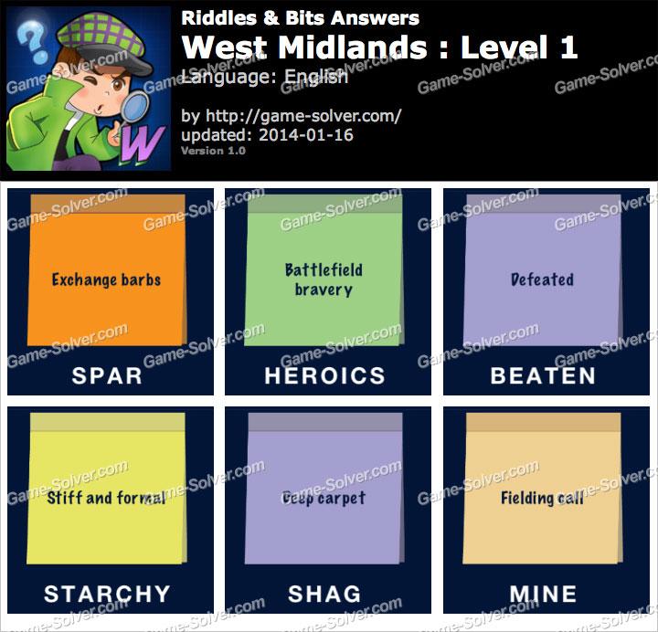 Riddles and Bits West Midlands Level 1