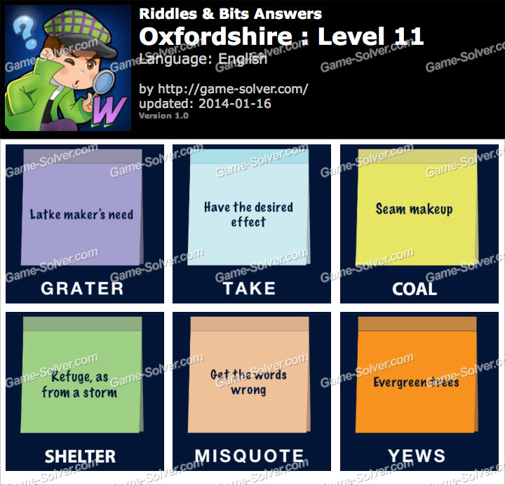 Riddles and Bits Oxfordshire Level 11