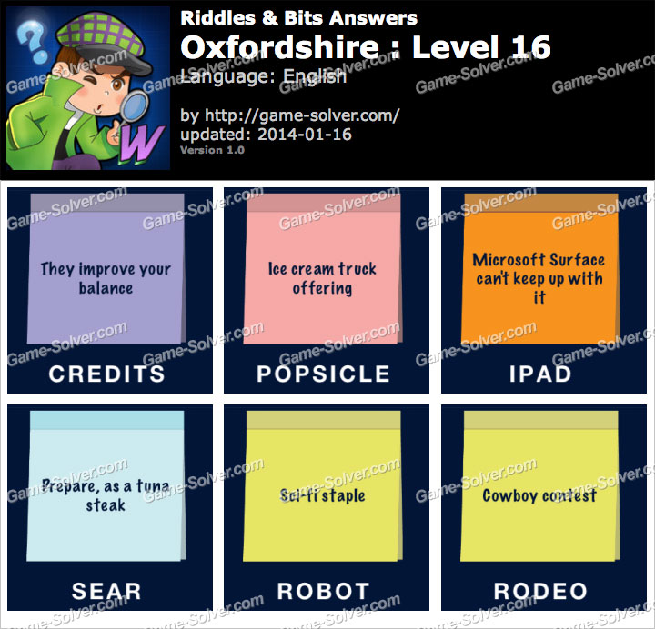 Riddles and Bits Oxfordshire Level 16