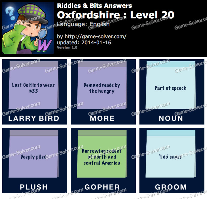 Riddles and Bits Oxfordshire Level 20