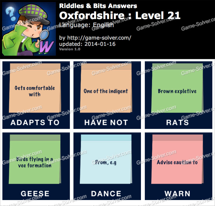 Riddles and Bits Oxfordshire Level 21