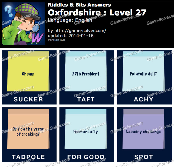 Riddles and Bits Oxfordshire Level 27