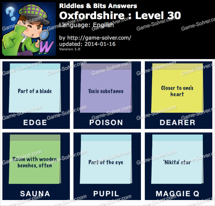 Riddles and Bits Oxfordshire Level 30
