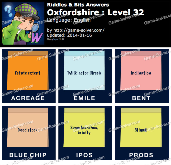 Riddles and Bits Oxfordshire Level 32