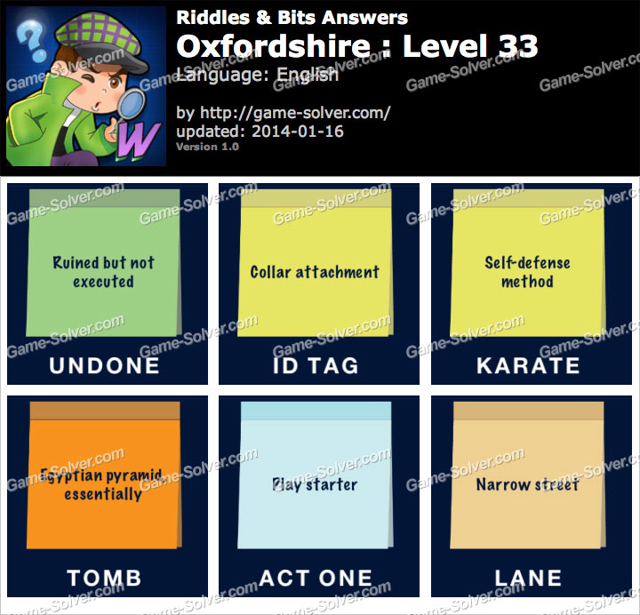 Riddles and Bits Oxfordshire Level 33