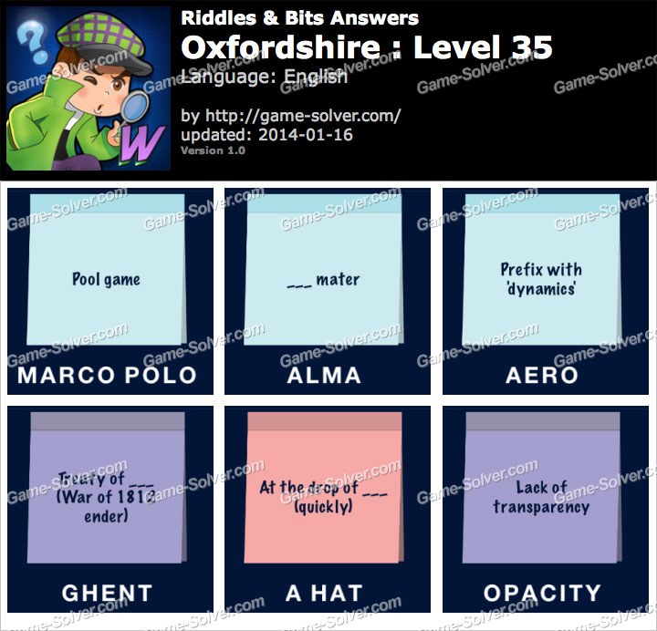 Riddles and Bits Oxfordshire Level 35