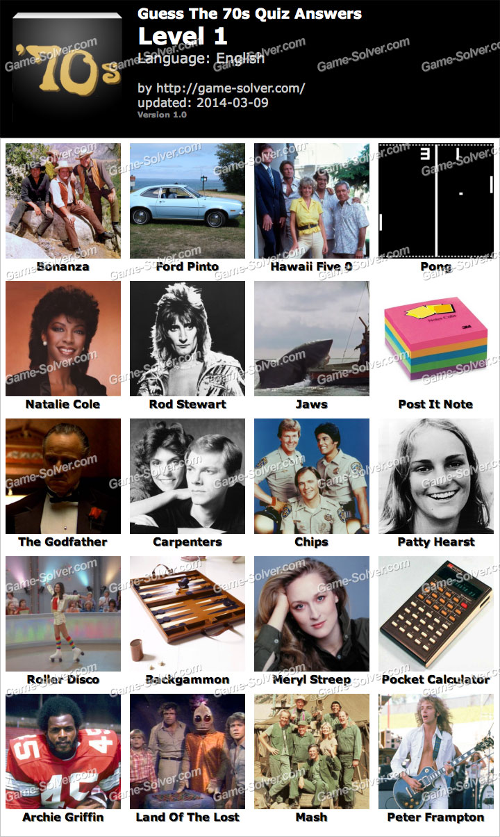 Guess The 70s Quiz Level 1